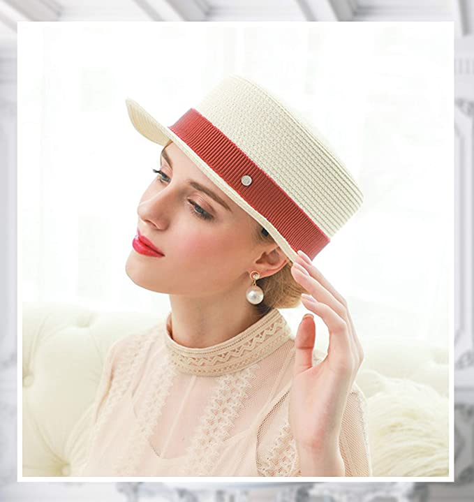 1930s Style Hats | Buy 30s Ladies Hats Melniko City Womens Straw Boater Hat Roaring 20s Retro Sunhat $22.98 AT vintagedancer.com