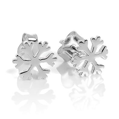 6142d31ac Sterling Silver Snowflake Stud Earrings: Amazon.co.uk: Jewellery