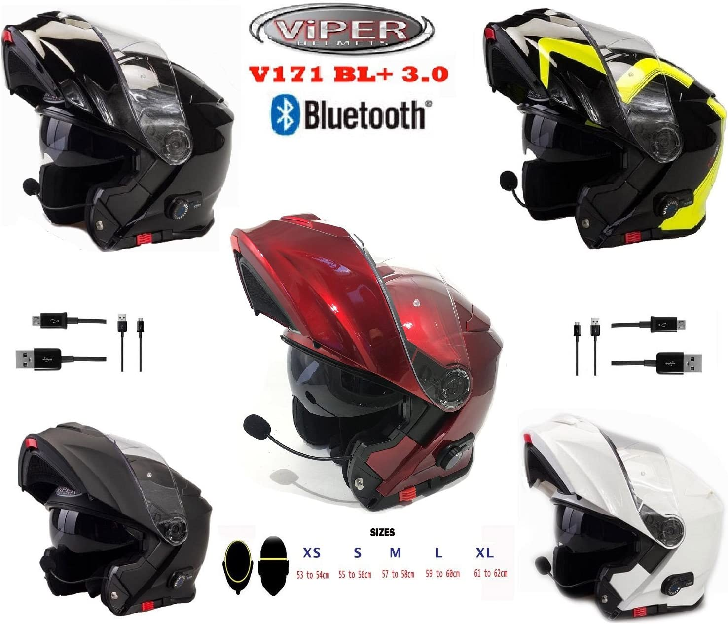 Viper V171 BL Bluetooth Flip up Touring Casco Ribaltabile Bluetooth Casco Moto 3.0 Casco modulare da Moto
