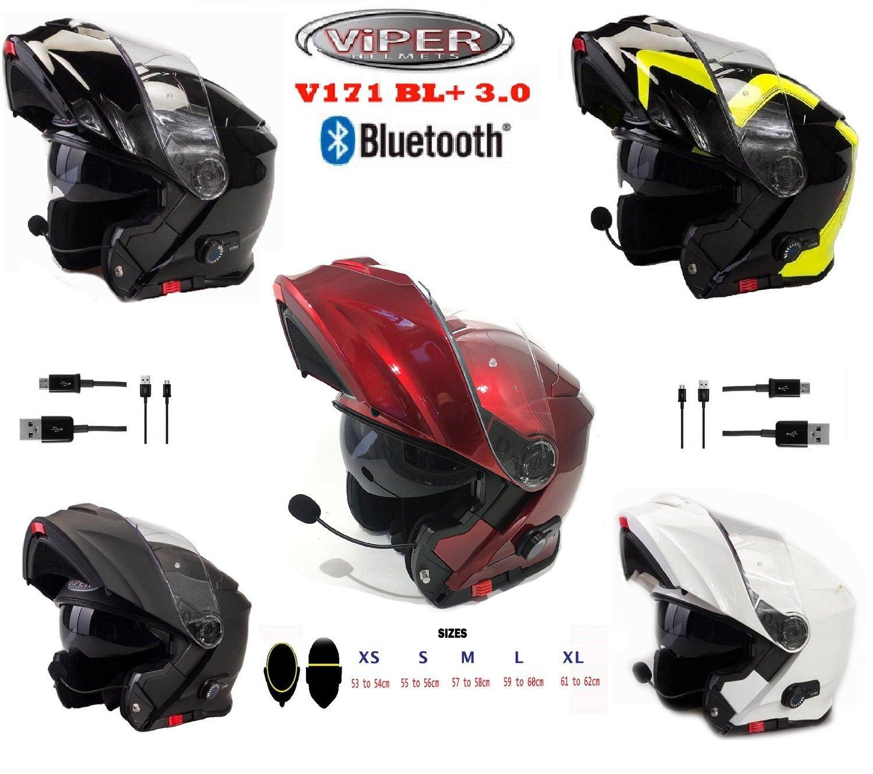 Amazon.es: Viper A092HV RSV151 Casco para Motocicleta con Altavoces Bluetooth