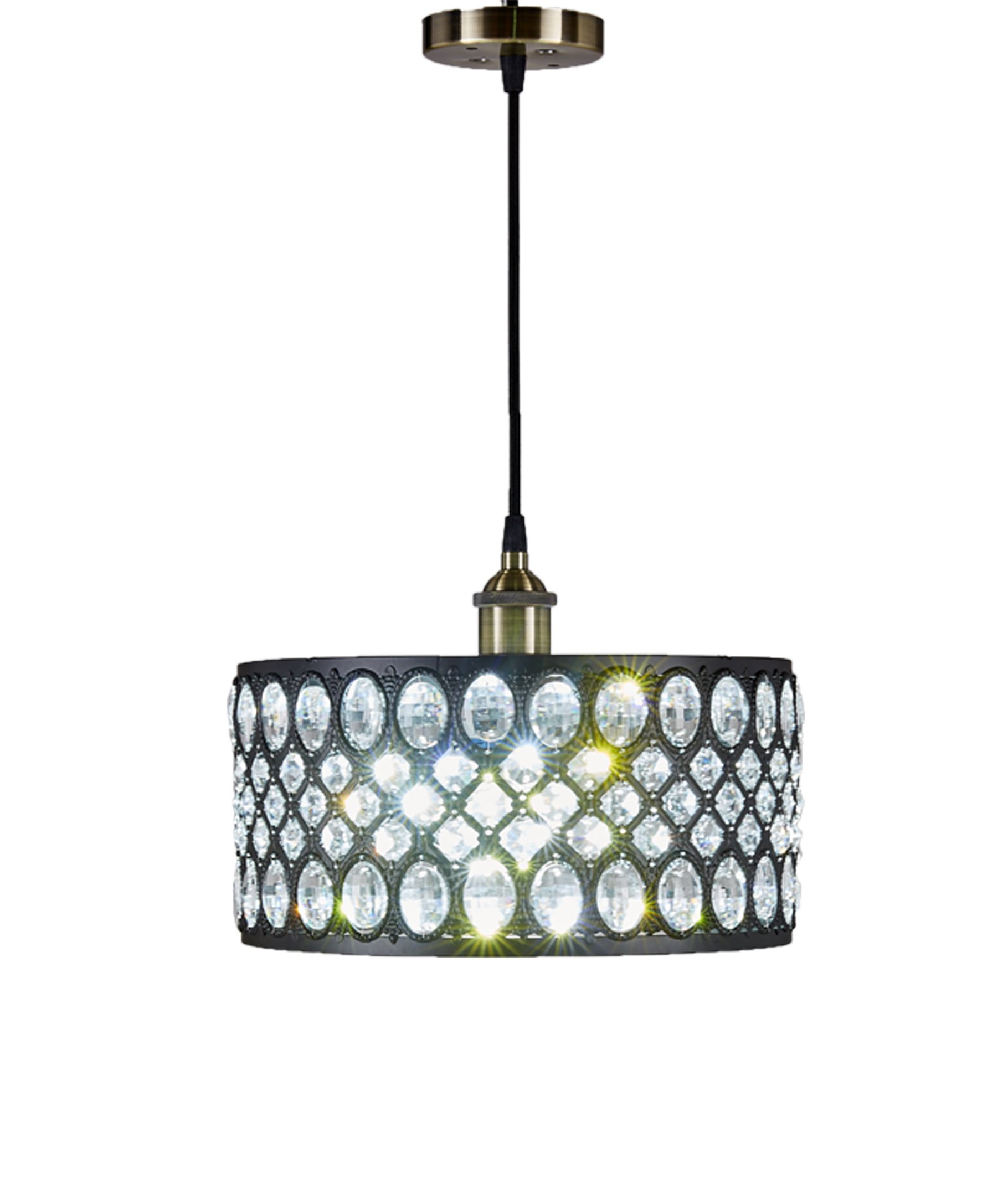 """Diamond Life 1-Light Black Finish Modern Crystal Chandelier Pendant Hanging Lighting Fixture - Style: Modern / Contemporary, Pendant Hanging Lighting Fixture Material: Metal, Crystal; Finish: Black Dimensions: Shade: 12""""Wx12""""Dx6""""H; Fixture: 12x12x44 inches (Hanging); Weight: 6 lbs - kitchen-dining-room-decor, kitchen-dining-room, chandeliers-lighting - 71MH1EG5X%2BL -"""