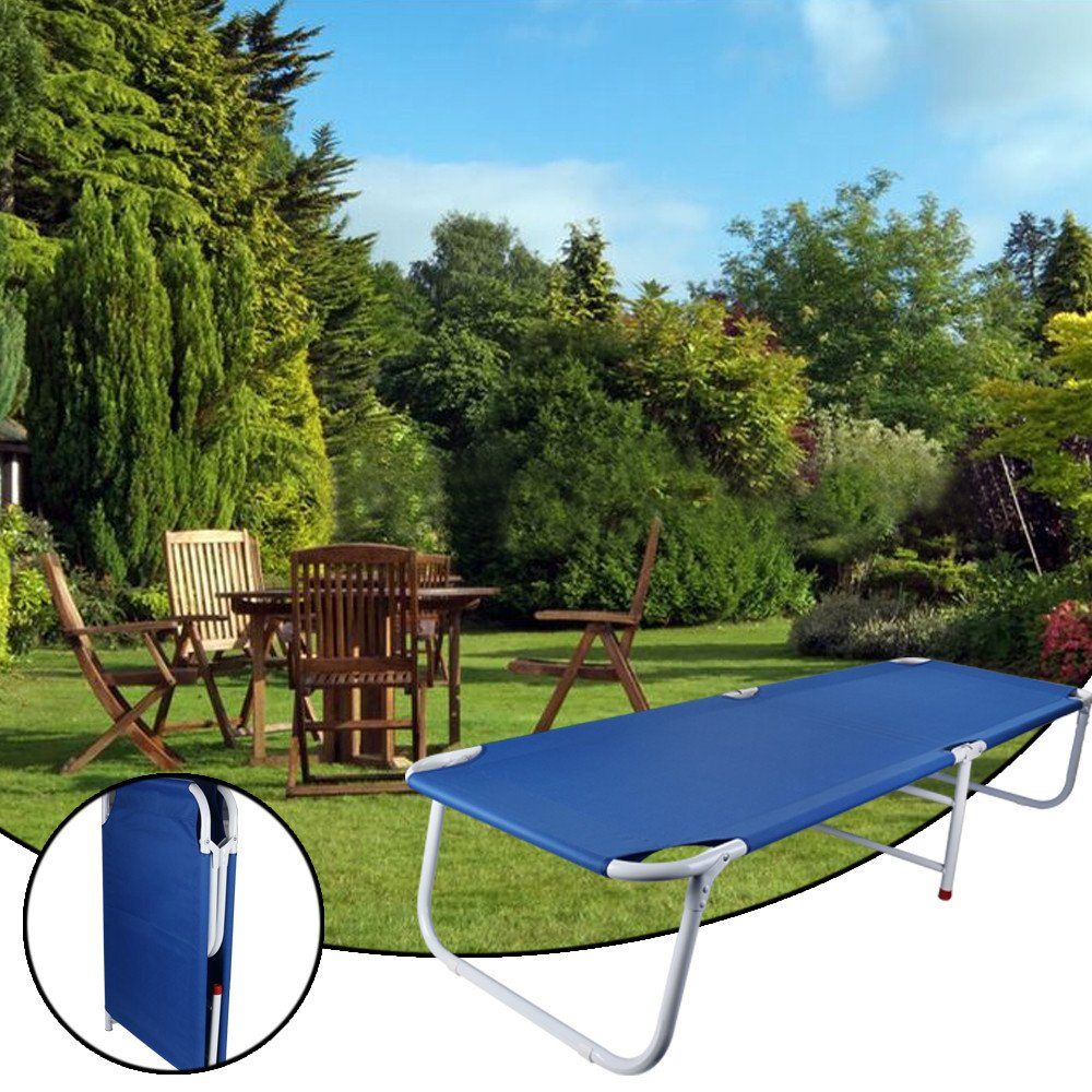 Maikouhai Folding Single Bed Foldable Office Napping Bed for Outdoor Camping Hiking Fishing, Garden Resting, Indoor Dormitory, Living Room, Blue