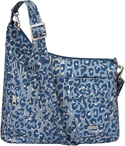 Travelon Anti-Theft Signature 3 Compartment Crossbody A B//W SMALL FLOWER PRINT Straight Pocket