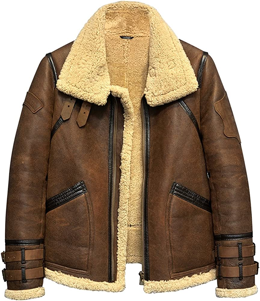 Leather Jacket Men Shearling Coat Mens Sheepskin Fur Coat