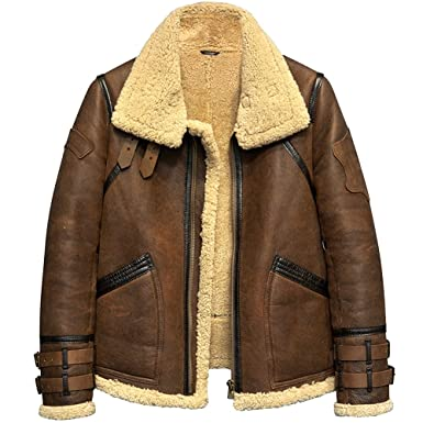 b3b74ab4470 Image 1 Source · Denny Dora Mens Shearling Jacket B3 Flight Jacket Fur  Leather Jacket