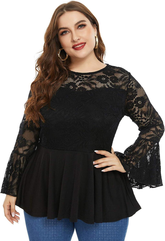 Hanna Nikole Elegant Lace Bell Sleeve Tops For Women Plus Size Ruffle Peplum Tops At Amazon Women S Clothing Store