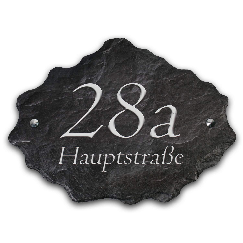 Hausnummer mit Wunschtext aus echtem Schiefer Naturschiefer Hausnummernschild Gro/ß 40x30cm XXL inkl Schwarz//Grau Montagematerial HNR002 in Grau//Beige//Schwarz