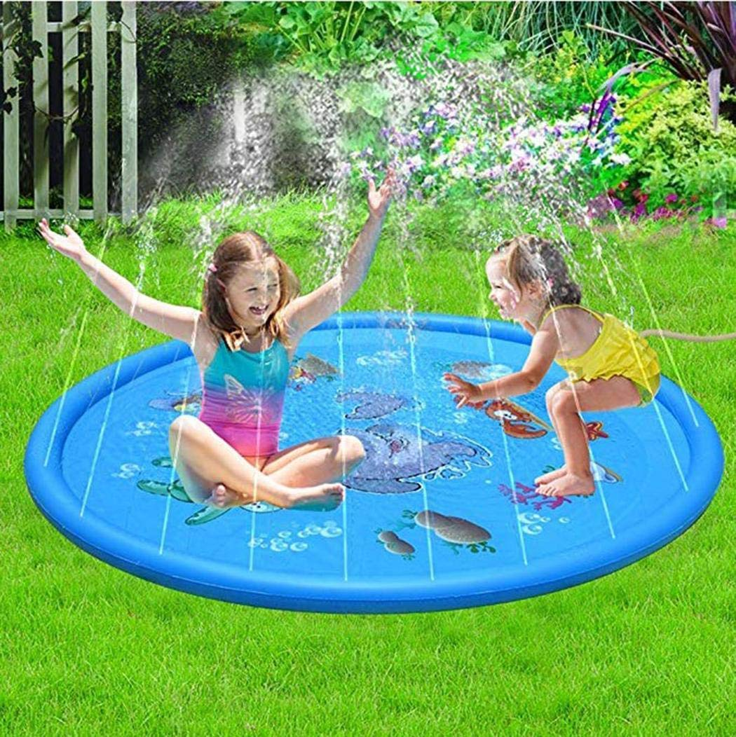 rungoi 170cm Kids Sprinkle and Splash Play Mat Pad Toy Inflatable Outdoor Sprinkler Pad Water Pad Toys for Children Infants Toddlers Boys Girls by rungoi (Image #2)