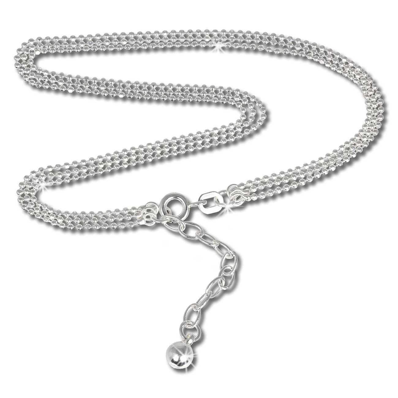 SilberDream bijoux collection - chaîne de pied 3er chain de boule - longeur env. 24cm - Bracelet de cheville SDF012