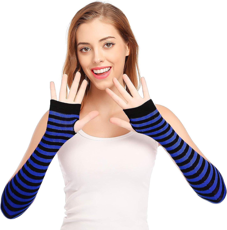 Punk Gothic Rock Long Arm Warmer Fingerless Gloves, Black Blue at Amazon  Women's Clothing store