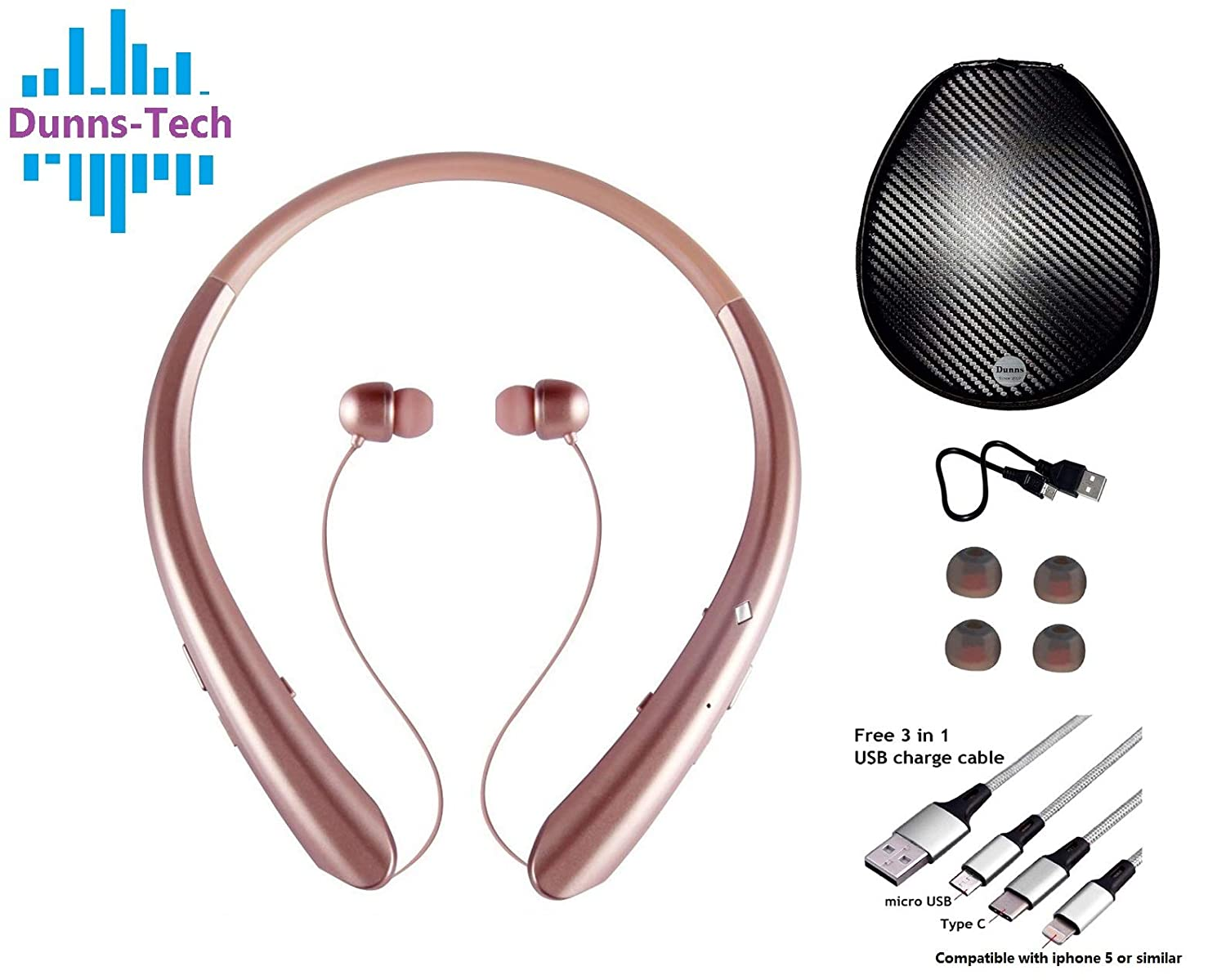 969a09f4d19 Dunn's Bluetooth Neckband Headphones with Retractable Earbuds, HD Stereo Wireless  Headsets with Microphone, vibrator alert | Free 3-in-1 multi-function USB  ...