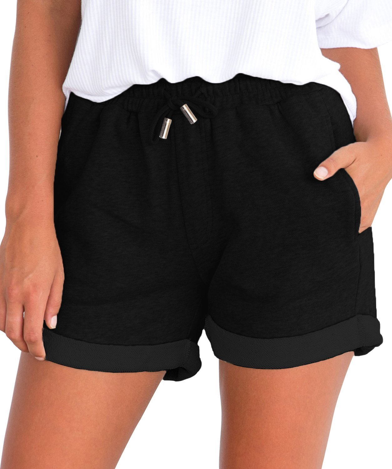 Tengo Women Summer Beach Shorts Juniors Folded Hem Shorts with Drawstring(Black,M)