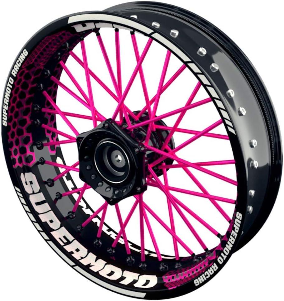 Vorder- und Hinterrad beidseitig inkl pink Felgenrandaufkleber OneWheel Felgenaufkleber Motorrad passend f/ür alle 17 Zoll Supermoto Felgen Farbiger Spokes V3