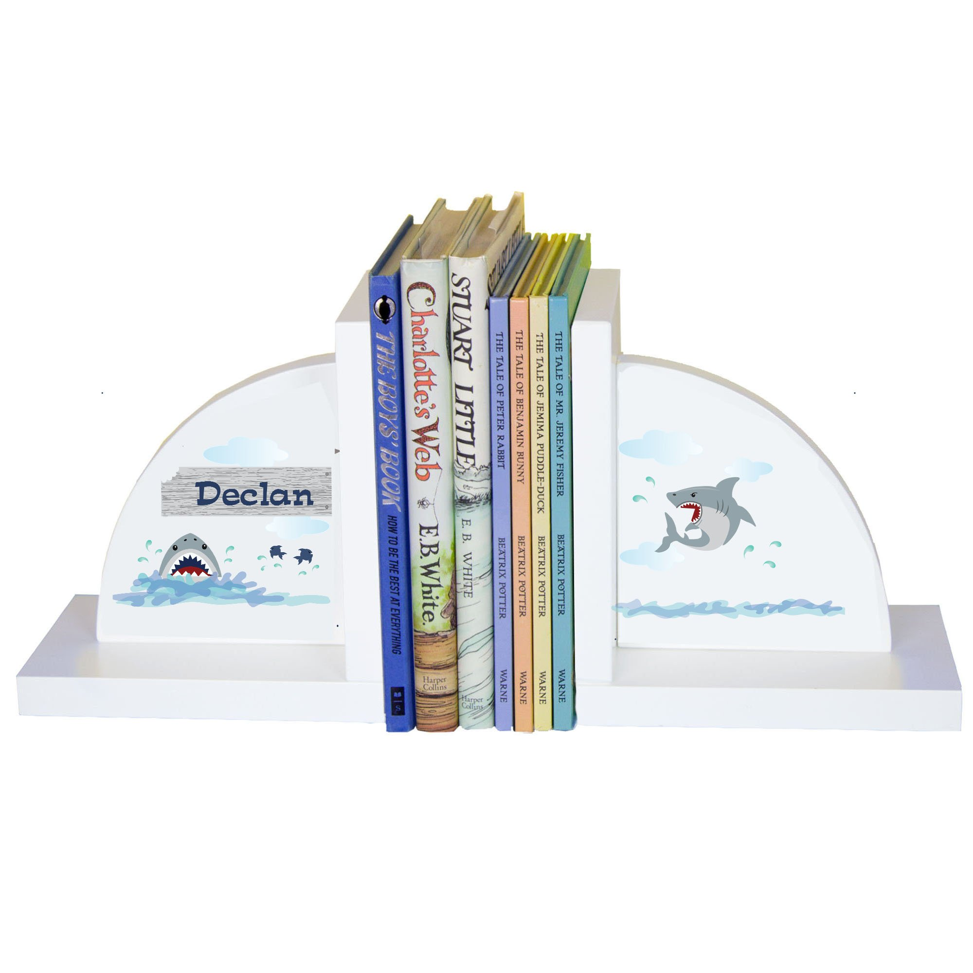 Personalized Shark Tank White Wooden Bookends by MyBambino