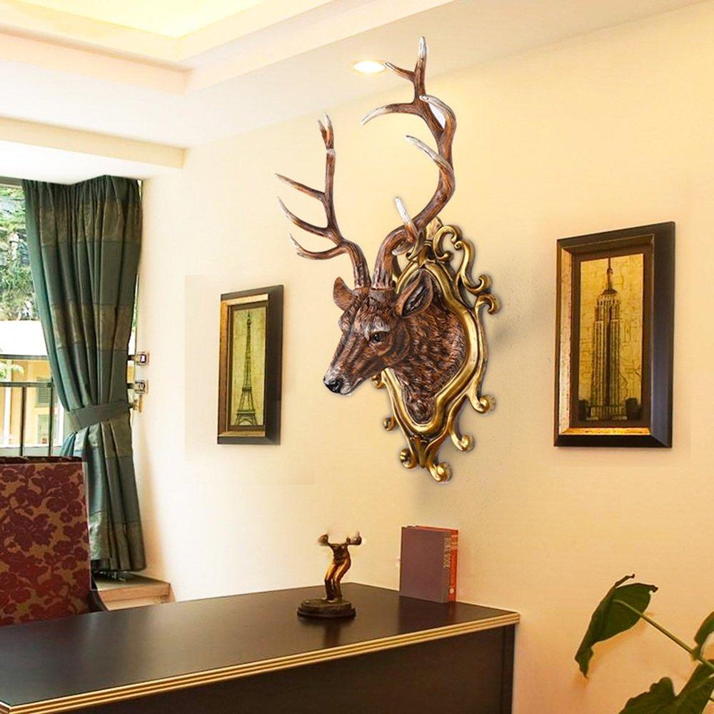 Europäische Simulation Hirsch Kopf Wanddekoration Wohnzimmer Wanddekoration  Vintage Bar Simulation Tier Kopf Wanddekoration (Farbe, Größe Optional) (  Farbe ...