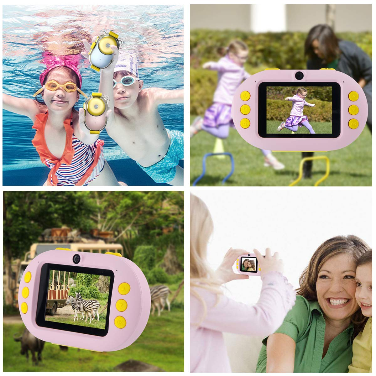 Kids Camera, OPOLEMIN Kids Waterproof Camera Kids Video Camera with Sound Playback Underwater Digital Camera Camcorderfor Kids with 16G Memory Card for Children's Day Birthday Trip Beach Swimming by OPOLEMIN (Image #5)