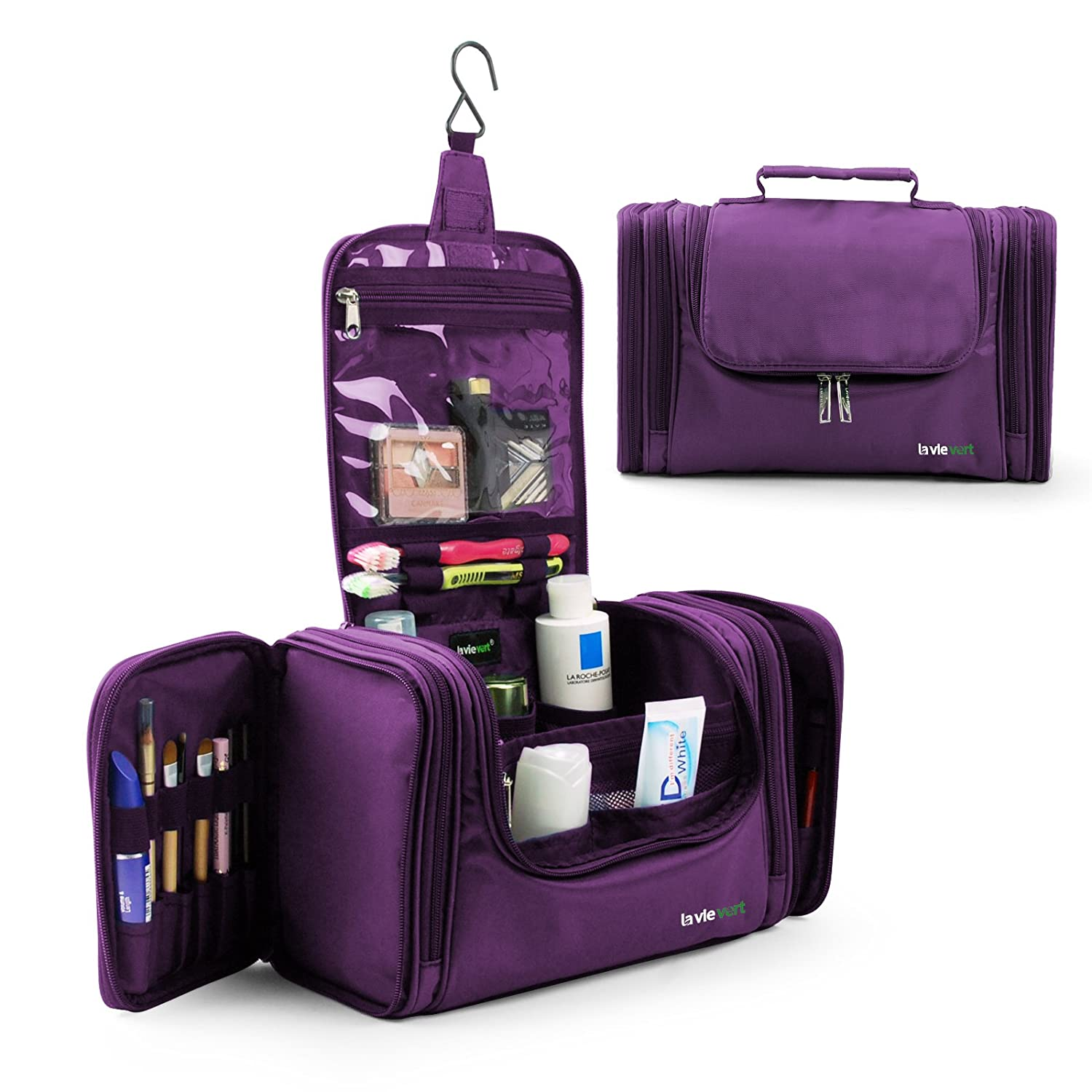 Lavievert Toiletry Bag/Makeup Organizer/Cosmetic Bag/Portable Travel Kit Organizer/Household Storage Pack/Bathroom Storage with Hanging for Business, Vacation, Household - Purple
