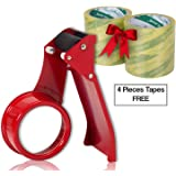 """Packaging Tape Dispenser Gun-Metal Body(Red Color) Packing Tape Gun 48mm 2"""" with Four Cello Tape Rolls White Color- Office,Home, Business Use, Packing Tape Hand Dispenser(Easy to Use)"""