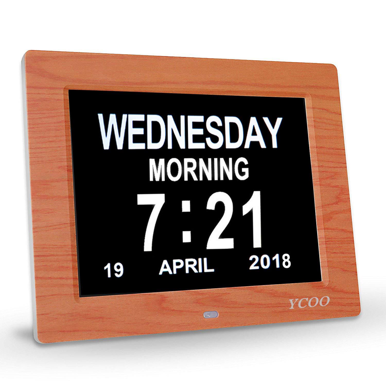 [New funzione] Digital calendario sveglia, 6opzioni–perdita di memoria Day Clock–Orologio digitale elettronico con grande LCD HD–scrivania e orologio da parete eccellente per difficoltà visive YCOO HDA01810