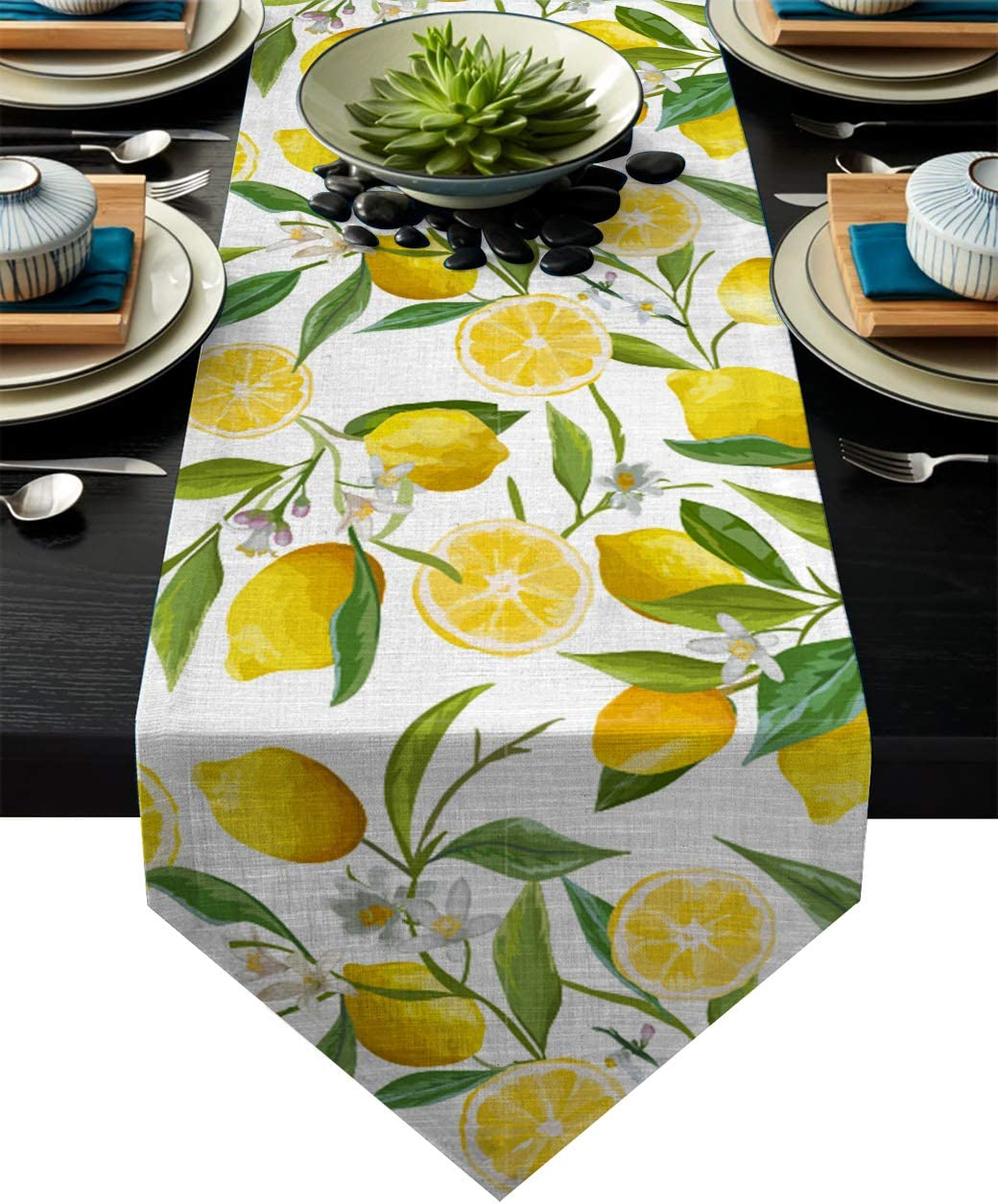 AmbeArt Luxury Table Runner for Dinning Hall/Banquet/Party 14 x 72 Inch, Yellow Lemons Natural Furit and Green Leaves Pattern - Modern Geometric Table Runner Holiday Dinner Home Decor, Triangle Trim