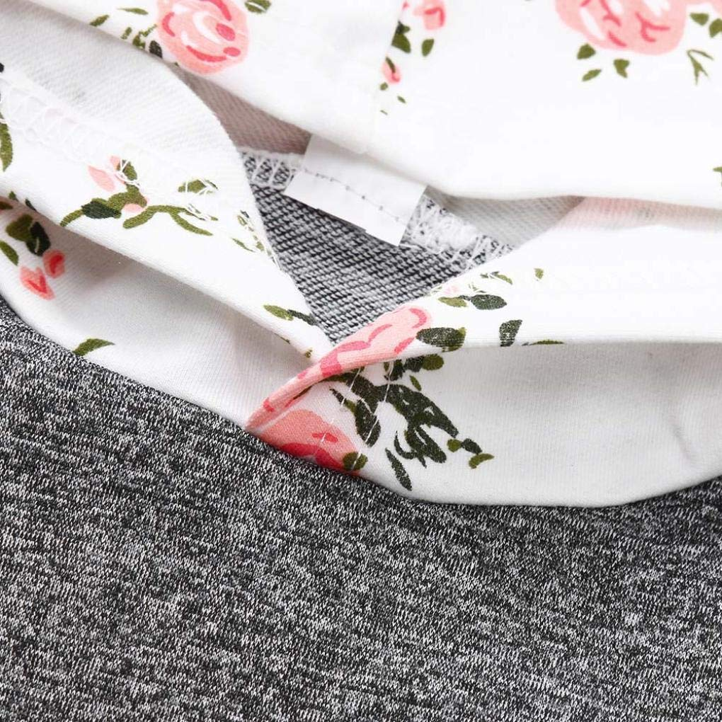 Hstore Baby Boys Girls 3PCS Set Long Sleeve Floral HoodieTops+Pants Headband Clothes