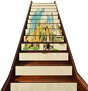 3D Landscape Stair Stickers 13 PCS,Doha Historical n Qatar Avant Garde Watercolor Panorama with Brush Strokes Stair Treads Decals Removable Staircase murals,for Hotel Home Staircase Riser Decor