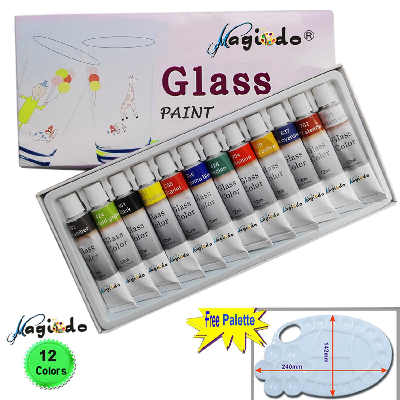 Non toxic craft paint - Hot Sale 2017 Magicdo 12 Cols Glass Paint With Free Palette Professional Glass Colour Set Quality Non Toxic