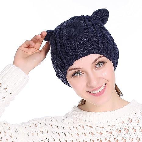 ZhengYue Katze Ohren Geformt Damen Mädchen Häkeln Stricken Ski Hut ...