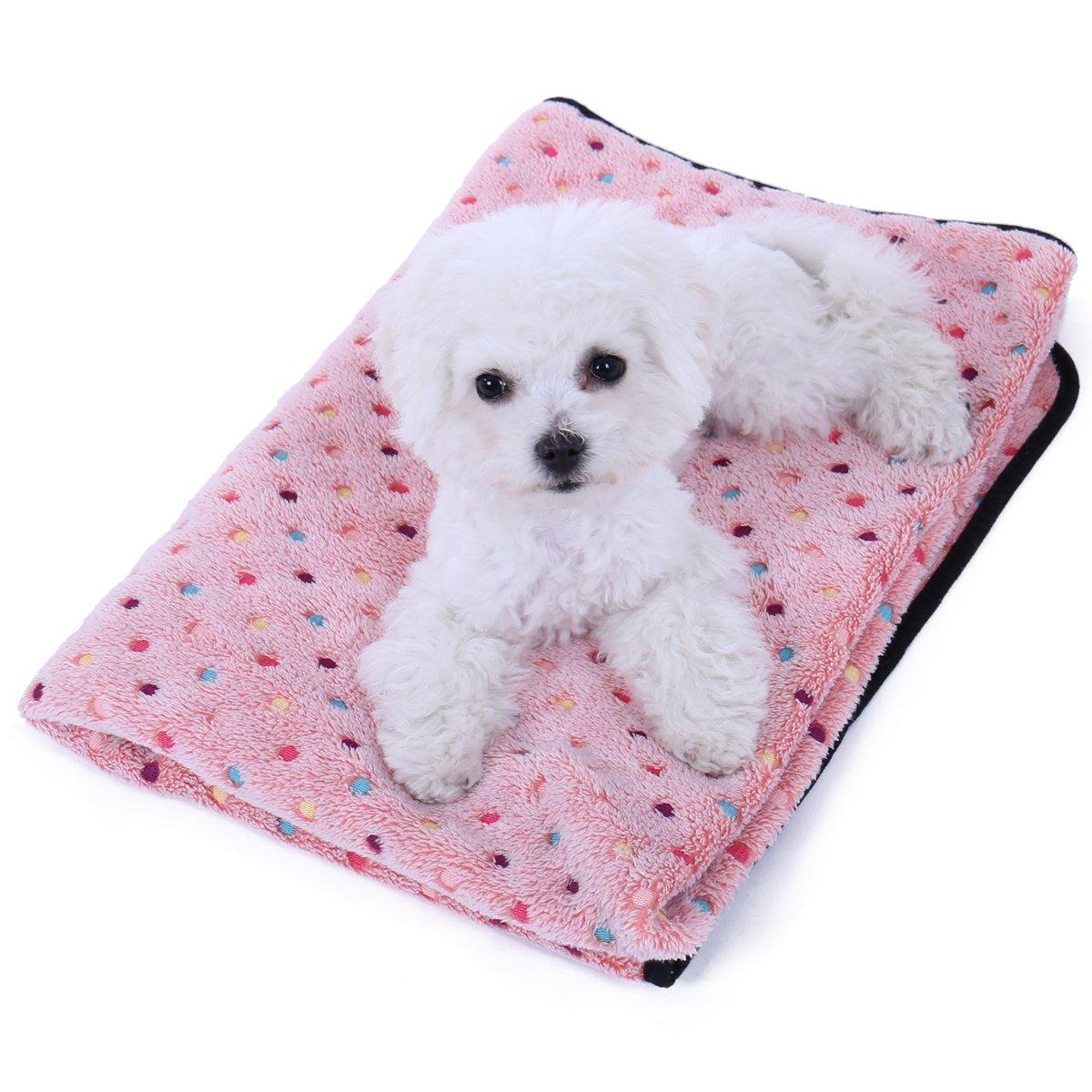 PAWZ Road Pet Dog Manta Fluffy Fleece Fabric Suave y Linda Warm Dot Print Manta Lavable para Gatos y Perros Rojo 77 * 53cm: Amazon.es: Productos para ...