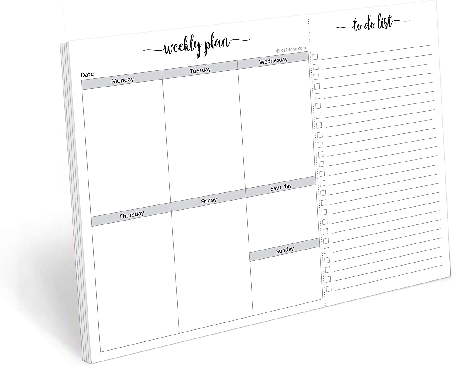 321Done Weekly Planning Notepad with Perforated to Do List - 50 Sheets (8.5