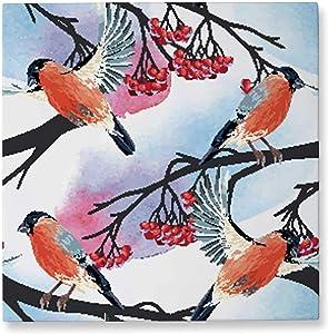 Pummelouty Seamless Bullfinch and Rowan,Wall Art Decor Canvas Wall Art Decor Canvas 12x12