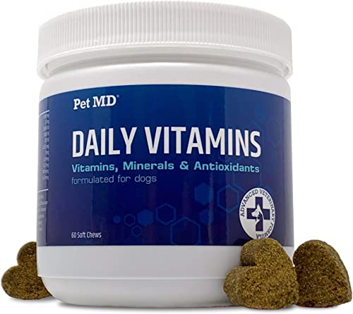 Pet MD Multivitamin for Dogs with Natural Vitamins, Minerals Antioxidants – Advanced Dog Vitamins and Supplements for Canine Health and Immune Booster – 60ct Bacon Flavored Soft Chews