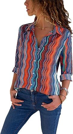 Camisas Mujer Blusa con Botones Camisetas Manga Larga Sexy Tops Color Rayas Cuello en V Low Cut Sexy Camisetas y Tops Camisas De Vestir