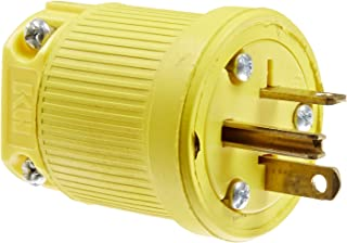 product image for KH Industries P520DF Rubber/Polycarbonate Rewireable Flip Seal Straight Blade Plug, 2 Pole/3 Wire, 20 amps, 125V AC, Yellow