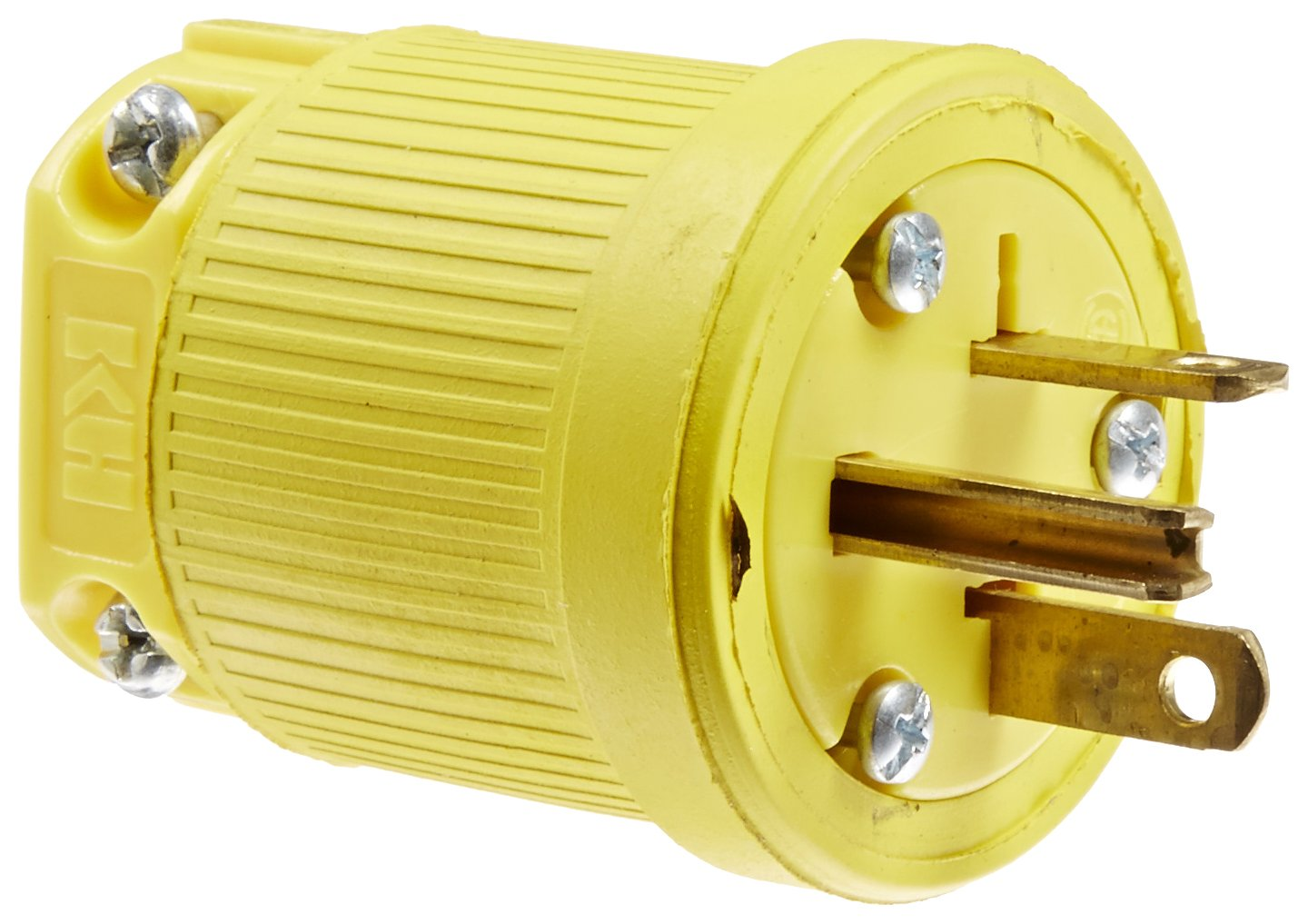 KH Industries P520DF Rubber/Polycarbonate Rewireable Flip Seal Straight Blade Plug, 2 Pole/3 Wire, 20 amps, 125V AC, Yellow