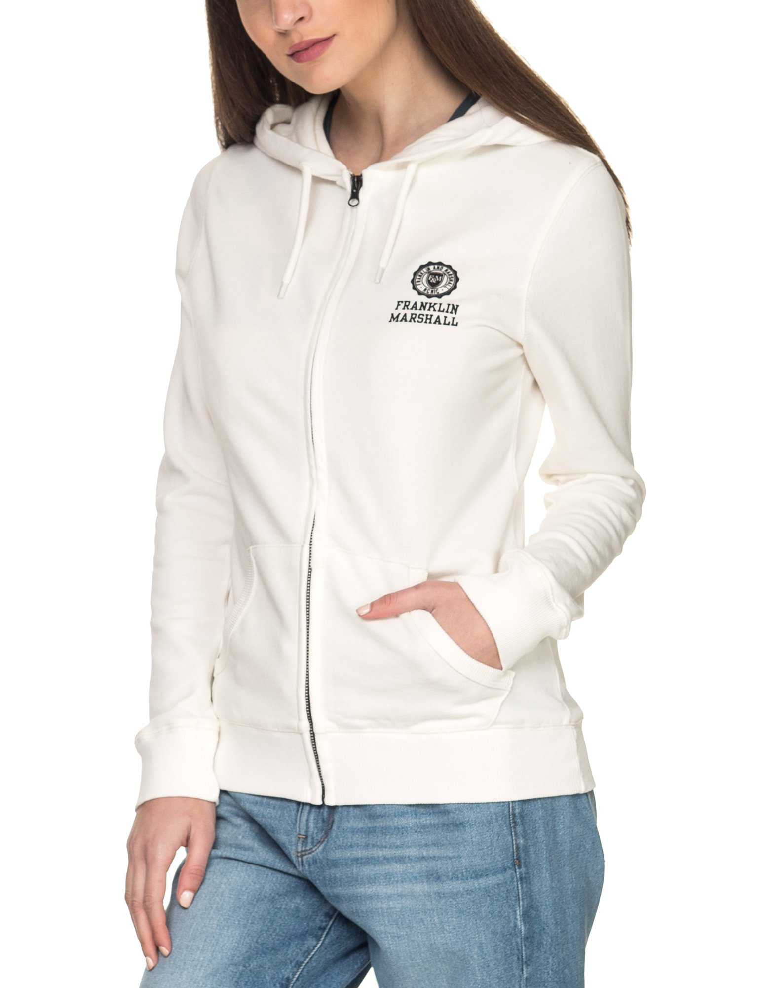 Franklin & Marshall Women's Women's White Hoodie In Size L White