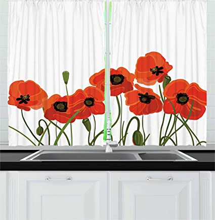 Amazon Com Ambesonne Poppy Kitchen Curtains Efflorescing Meadow In The Backwoods Vibrant Blossoms Buds Bouquet Window Drapes 2 Panel Set For Kitchen Cafe Decor 55 X 39 Vermilion Green Home Kitchen