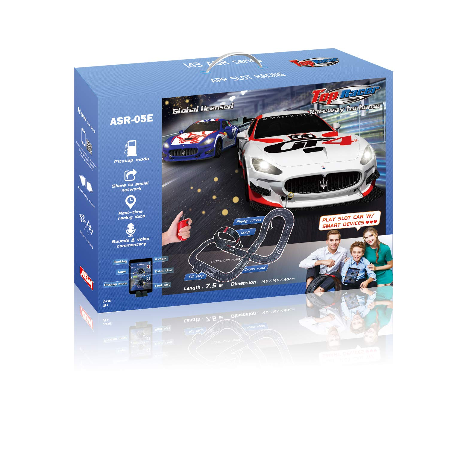 AGM Slot car Set with Racing Assistant APP No.ASR-05 1:43 Scale by AGM MASTECH