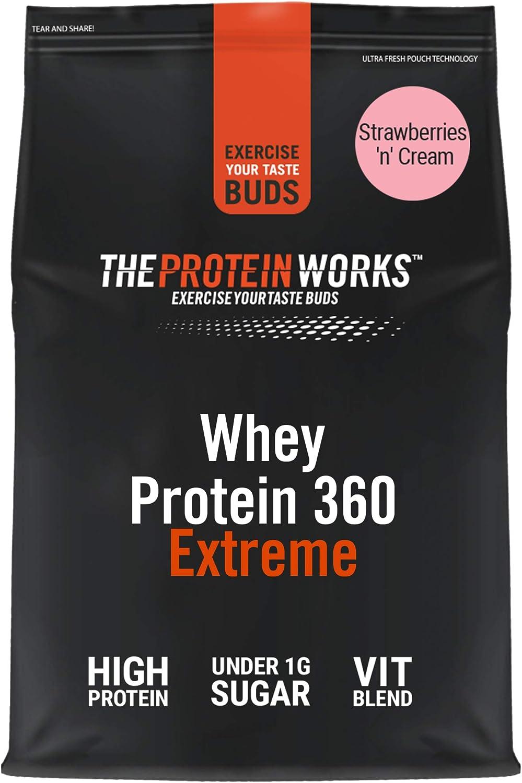 Batido de Proteína Whey 360 Extreme | Bolsa de 2,4Kg | Sabor fresas con nata | Proteína de suero