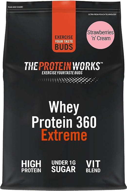Batido de Proteína Whey 360 Extreme   Bolsa de 2,4Kg   Sabor fresas con nata   Proteína de suero
