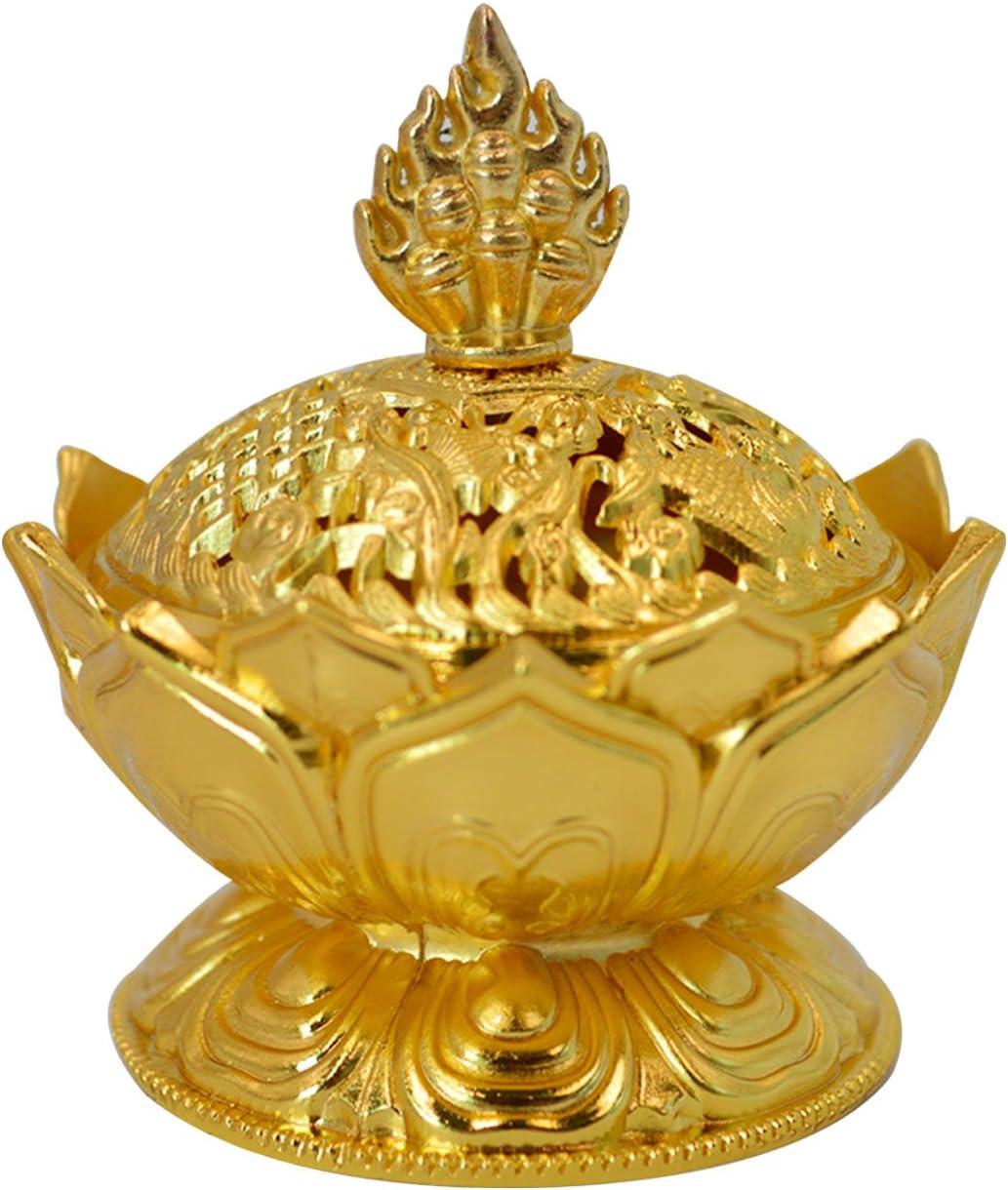 Buddha Lotus Flower Incense Burner Alloy Metal Incense Holder Censer Creative (Gold)