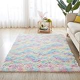 5X8 Feet Rainbow Carpet for Living Room Soft Luxury Bedroom Large Fluffy Plush Area Rug Christmas Thanksgiving Shaggy Big Com