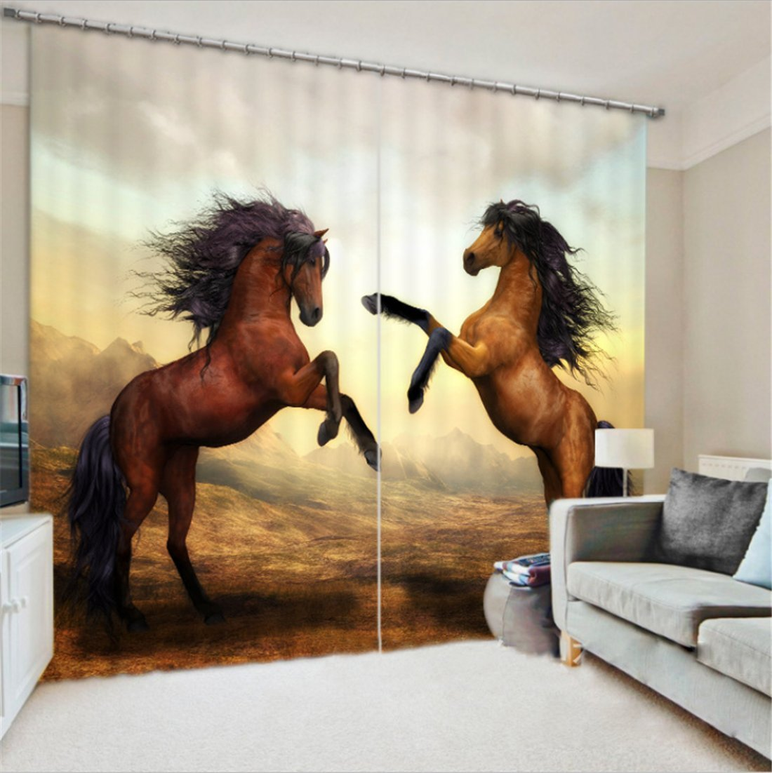LB 2 Panels Room Darkening Thermal Insulated Blackout Window Curtains,Standing Horse 3D Window Drapes for Living Room Bedroom - 80 Inch Width by 84 Inch Length