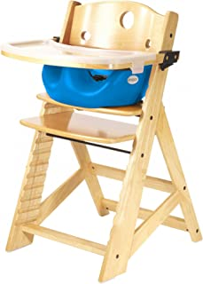 product image for Keekaroo Height Right High Chair with Infant Insert & Tray, Natural/Aqua, ONE Size (0051404KR-0002)