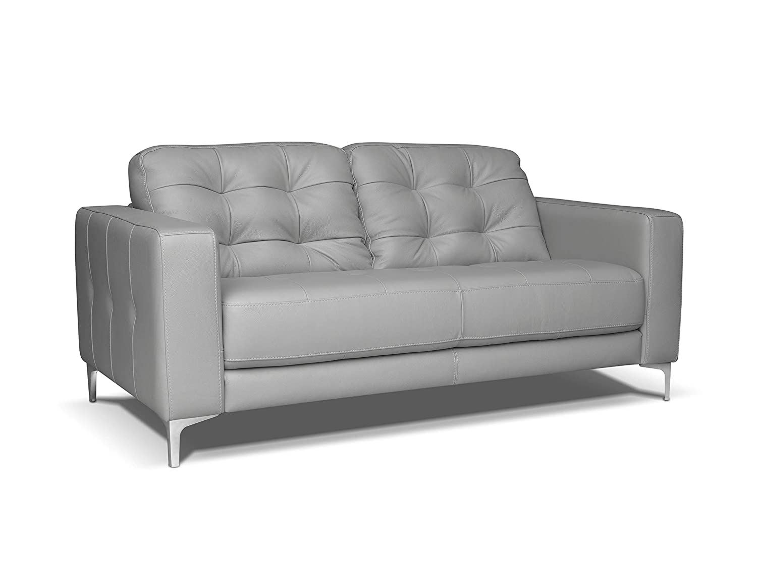 Super Alkove Holt Leather Sofa 2 Seater Light Grey Amazon Co Uk Interior Design Ideas Clesiryabchikinfo