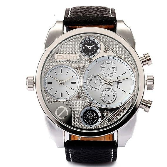 Hombre Relojes de cuarzo, Relojes militares Reloj deportivo Correa de cuero Dos zonas horarias Personalizar