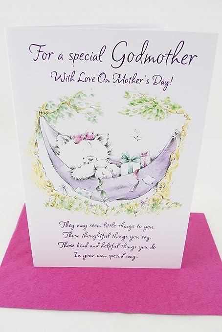 999d7d05e9 Feliz día madrina madres tarjeta calidad poema lindo especial Tarjeta de  felicitación