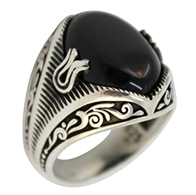 23502a27984b9 925 Sterling Silver Jewelry Onyx Stone Men's Ring