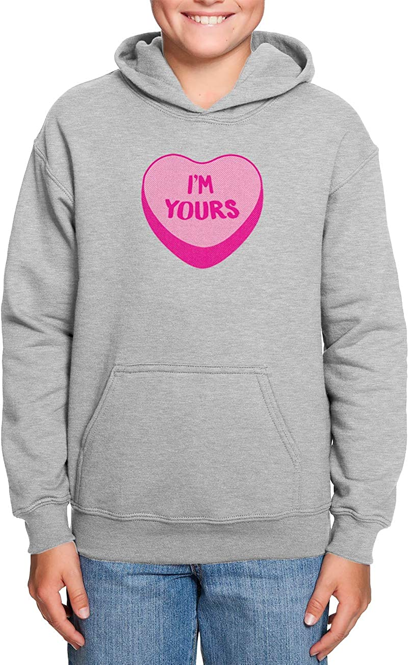 Im Yours Candy Heart Sweet Love Toddler//Youth Fleece Hoodie