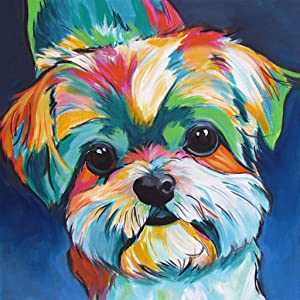 DIY Oil Paint by Numbers for Adults and Kids,Acrylic Paintworks for Beginners and Experienced Hobby Painters(16X20 Cute Dog)